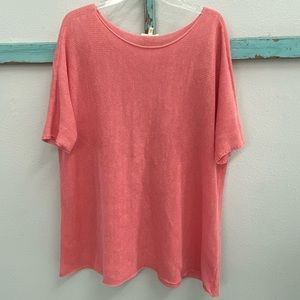 Eileen Fisher Boatneck hemp sweater melon coral M